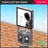 Standplatz im FreienScroller LED, das Lightbox mit Mülleimer bekanntmacht