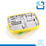 5 Doos Bento van de Lunch van het Roestvrij staal van verdelers de Kleurrijke voor de Container van het Voedsel van Jonge geitjes