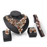 과장된 보석 고정되는 진주 수정같은 형식 4 PCS 고정되는 목걸이 귀걸이 보석