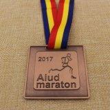 Het aangepaste Medaillon van de Marathon van Leicester van het Metaal Halve met het Lint van de Douane