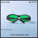 빨간 Lasers를 위한 레이저 안전 유리 보호 Eyewear, 회색 프레임 55를 가진 635nm (RHP-2 600-700nm)를 위해 전형 루비의 유형을