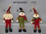 Decoración del muñeco de nieve de Santa de la carrocería del resorte, 3asst