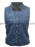 Рубашка 100% джинсовой ткани хлопка повелительниц безрукавный Wh1023