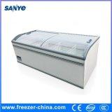 Congelador combinado superior horizontal do console da porta de vidro de deslizamento de Aht