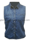 Denim-Sleeveless Hemd 100% der Damen BaumwollWh1023