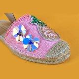 버클 결박 화포 분홍색 닫히는 발가락 Sequin Espadrille 샌들