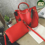 디자이너는 숙녀에 클러치 지갑 광저우 공장 OEM Sy8161와 가진 부대 대조 색깔 결박 핸드백이라고 상표를 붙였다