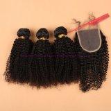 capelli ricci crespi peruviani del grado 8A con i gruppi dei capelli umani della chiusura con la chiusura del merletto nessun Tangle&Shedding