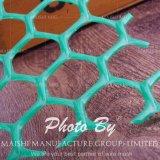 Giardino di plastica verde che recinta la maglia di plastica esagonale della maglia