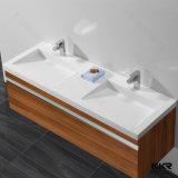 Feste Oberflächensteinbadezimmer-Eitelkeits-doppelte Wanne anpassen