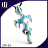 Blaue Rahmen-Kreuz-Halskette des Decklack-Op488