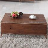 Деревянный журнальный стол с ногой металла с ящиком твердой древесины