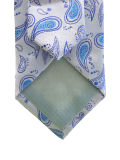 gravata de seda azul e cinzenta da forma de Paisley para o homem
