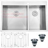 Edelstahl-Oberseite-Montierungs-Gleichgestellt-Doppelt-Filterglocke-handgemachte Küche-Wanne des Zoll-32X19
