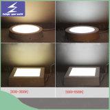 luz del panel cuadrada redonda del aluminio LED de 6W 12W 18W