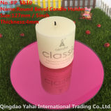 4mm Round Light Red Bevel Glass Candle Holder