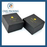 Caixa de cartão preta da jóia do cartão com interior da esponja (CMG-PJB-019)
