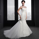 High-Neck Lace Appliques Beaded Mermaid Wedding Dress (SL008)