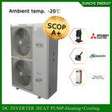 Cop élevé fendu froid d'Evi de pompe à chaleur d'air à l'intérieur des bâtiments de condenseur du chauffage 12kw/19kw/35kw de Chambre de mètre de l'étage 100~350sq de l'hiver de l'Allemagne -25c