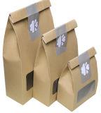 La stampa su ordinazione di alta qualità della fabbrica si leva in piedi in su il regalo/acquisto/il sacchetto della maniglia della carta kraft Dell'alimento con la finestra
