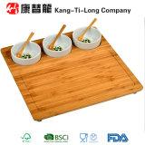 Serving di bambù Platter con 3 Ceramic Bowls