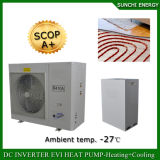 독일 찬 -25c 겨울 지역 방열기 난방 룸 +55c Dhw 12kw/19kw/35kw/70kw Evi Monobloc 공기 근원 온수 열 펌프