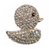 Brooch clássico chapeado prata do pato encantador cheio do Rhinestone