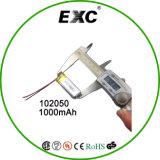 Plastik-Batterie der Stärken-Batterie 102050 Li-Ionbatterie-3.7V 1000mAh