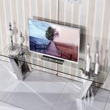 basamento moderno di vetro TV di ultimo disegno europeo con acciaio inossidabile