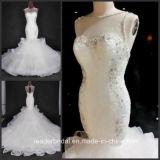 Nixe-Hochzeits-Kleid-gekräuselter Organza, der Spitze-nach Maß Brautkleider A1767 bördelt
