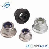 Écrou de blocage en nylon de bride d'hexagone d'acier inoxydable avec la rondelle