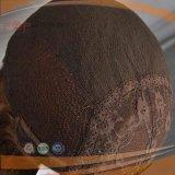 브라운 프랑스 꼬부라진 기본적인 색깔은 100% 사람의 모발 최상 가득 차있는 Handtied 유태인 실크 최고 가발을 섞었다