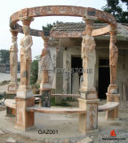 Zone blanche/Yellow/Red Marble Carving Gazebo pour le jardin Decoration