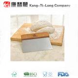 Racleur de la pâte d'acier inoxydable avec la poignée en bambou