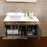 Подгонянный роскошный шкаф ванной комнаты тщеты ванной комнаты с золотистым цветом