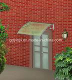 Da tampa contínua da chuva da porta da rua da folha do PC 60*100 dossel plástico do policarbonato de Trasparent do braço