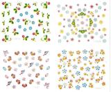 3D elegante floresce etiqueta misturada do prego das etiquetas da arte do prego da água
