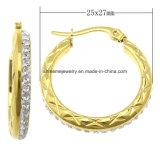Shineme Bijoux Fashion Stainless Steel plaqué boucle d'oreille en or (ERS6904)