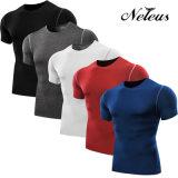 Use camisa de la aptitud de compresión deporte de los hombres Neleo ropa Dt0003