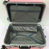 El bolso rosado lindo de la carretilla del marco de aluminio, aduana hace PC la maleta material del equipaje del recorrido con las ruedas