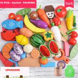 아이를 위한 나무로 되는 절단 장난감 음식, 아이들을%s 역할 실행 장난감 음식, 행복한 쾌활하게 자르는 목제 음식 장난감