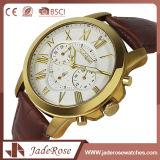 Customed Form-Weinlese-Leder-Quarz-Uhr