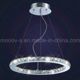 Modern Indoor Decorativas Clear Round Eternity Ring Crystal LED Suspensão da lâmpada