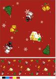 Material impreso del PVC del mantel de la Navidad con el forro no tejido