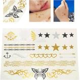 Autoadesivo provvisorio impermeabile del tatuaggio della stella metallica della farfalla dell'oro