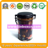 Изготовленный на заказ коробка олова кофеего с пластичной воздухонепроницаемой крышкой, оловом кофеего с механизмом, жестяной коробкой металла, контейнером для упаковывать кофеего