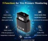4 sistema interno OBD do monitor do alarme da pressão de pneu do indicador TPMS de Bluetooth 4.0 APP dos sensores