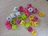 Letra feita sob encomenda colorida por atacado marcador plástico impresso do tamanho do anel