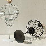 Sostenedor de vela negro del Birdcage del metal de la yarda Homeware