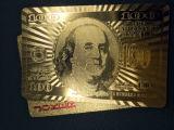 cartões de jogo plásticos do dólar do póquer do PVC da folha de ouro 24k